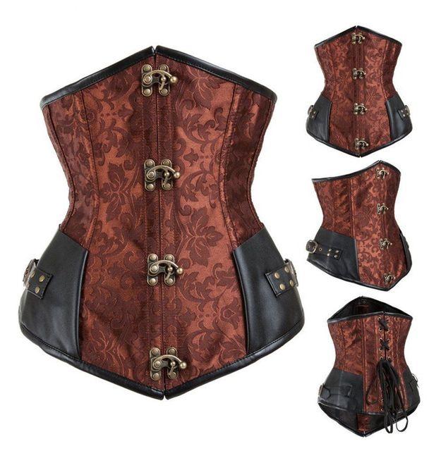 Brown retro Brocade Victoria Gothic Steampunk aço desossado Corset Cincher cintura Tops Shaper frete grátis