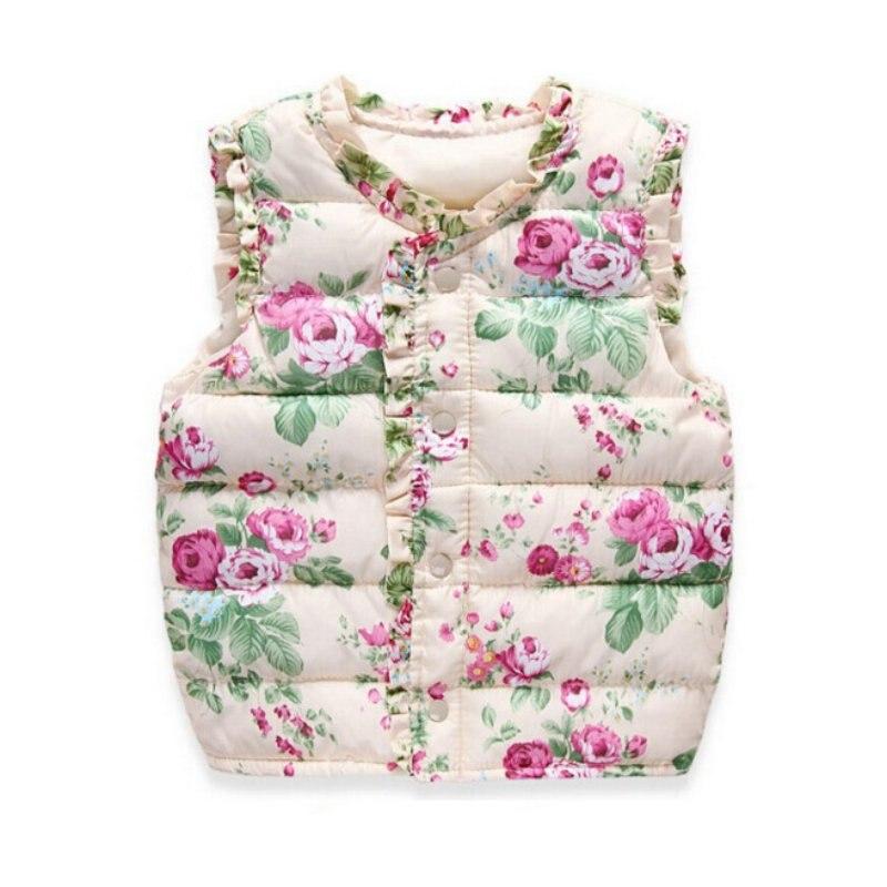 Winter/Autumn Children Outerwear Coats Flowers Printed Vest Kids Windbreaker Jacket Cotton Coats Children Warm Vest