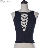 Fashion Summer Lady Crop Top Sexy Women Bandage Knitted Hollow Out Tank Tops Sleeveless Bodycon Fitted