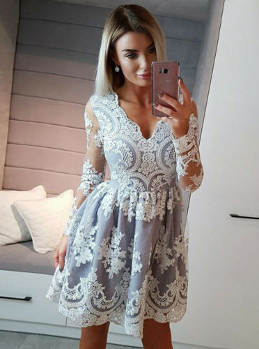 Hirigin Women's Lace Floral Lace V-Neck Long Sleeve Formal Prom Evening Party Dresses