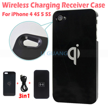 100% Qi Wireless Charger Transmitter Pad Mat +Wireless Charging Back Receiver Case Cover Power Charger Kit For iPhone 4 4S 5 5S
