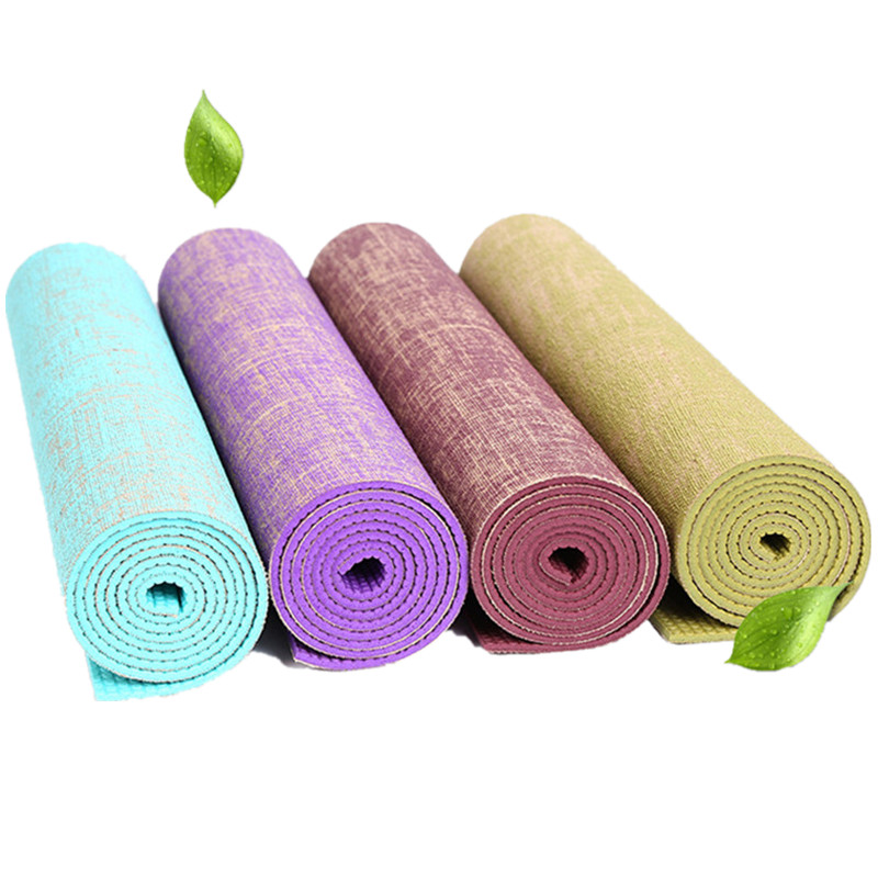 Linen Yoga Mat Eco-Friendly Rubber Non Slip 183*61CM*5MM Bodybuilding Fitness Pilates Exercise Mat Yoga Mats 4 Color Yoga Pad chastep natural pvc yoga mat anti slip sweat absorption 183 61cm 6mm yoga pad fitness gym pilates sports exercise pad yoga mats