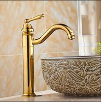 Free Shipping High Arch New Deck Bathroom Basin Sink Mixer Tap Polished Antique Gold Faucet Waterfall