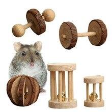 Chomik drewniany drewniany molowy gryzak Jouet Rongeur Konijn Speelgoed Hout artykuły zabawkowe z dzwonkiem na małe zwierzęta zabawka do ćwiczeń