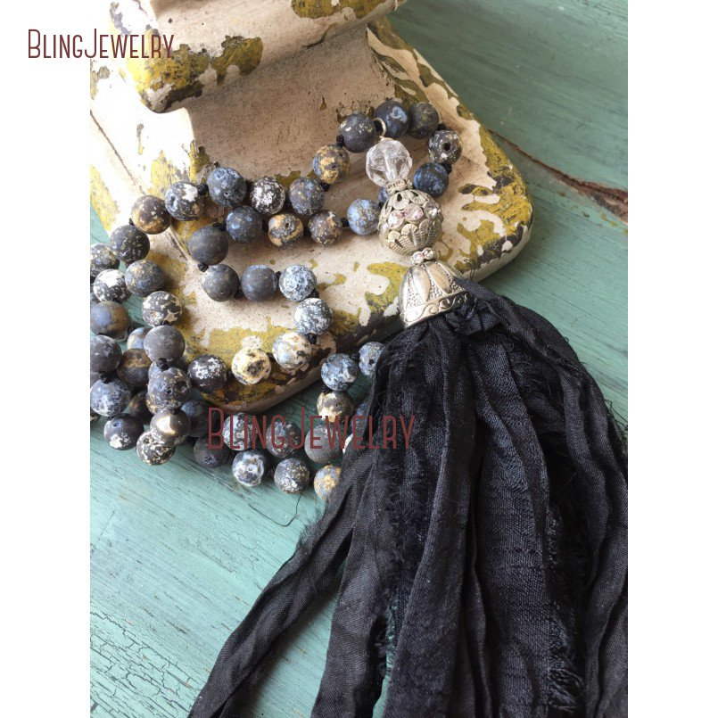 Knot Frosted Agates Beads Necklace Black Shabby BoHo Sari Silk Tassel Necklace NM15507