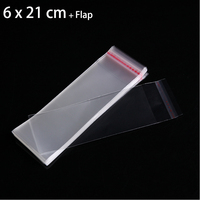 2000pcs Dozen 6cm X 21cm Crystal Clear Gift Bag Jewelry Necklace Packaging Bag Self Adhesive Seal