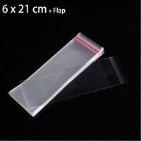2000 pcs/dozen 6 cm x 21 cm Saco Do Presente de Embalagem De Jóias Colar Crystal Clear Saco Autoadesivo Seal Saco de plástico