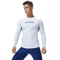 TAUWELL Mens Long Sleeve Rashguard Splice UV Sun Protection Basic Skins Surfing Diving T Shirt
