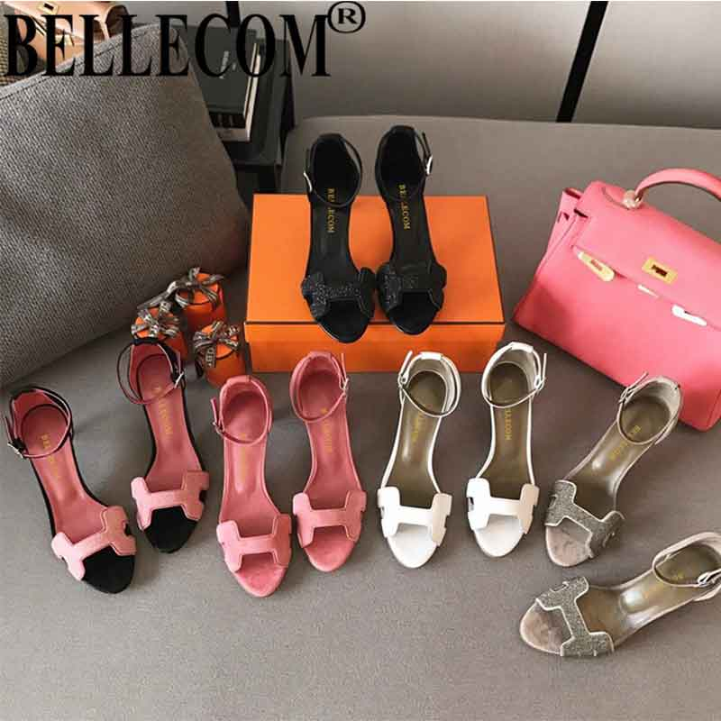 BELLECOMHigh heeled women's fashion single shoes with open toe sandals and personality style in summer 2019
