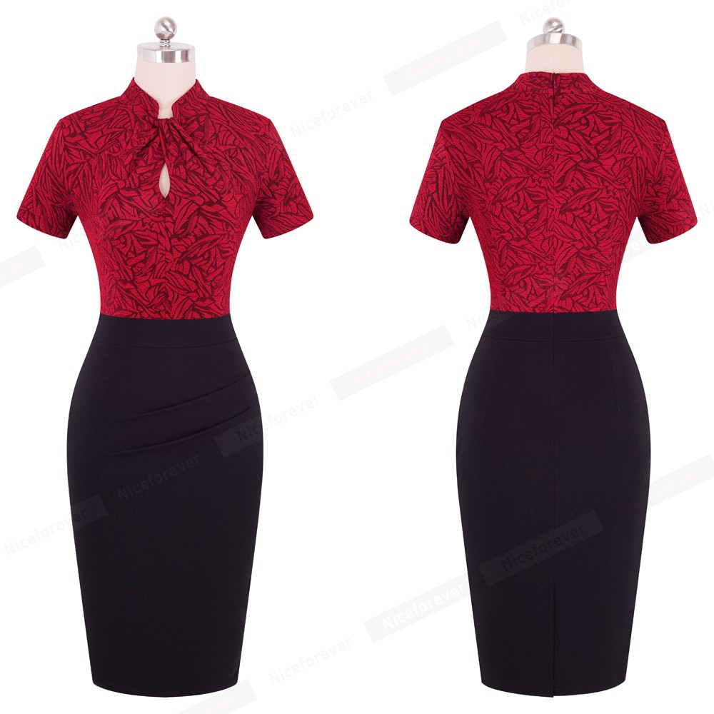 Nice-forever Vintage Contrast Color Patchwork Wear to Work Knot vestidos Bodycon Office Business Sheath Women Dress B430 17