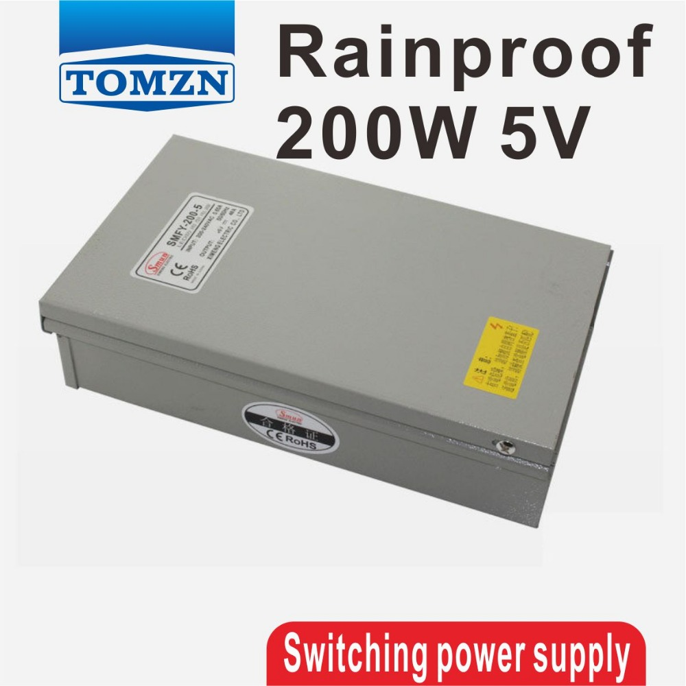 200W 5V 40A Rainproof outdoor Single Output Switching power supply smps AC TO DC for LED 60w 24v 2 5a rainproof outdoor single output switching power supply smps ac to dc for led