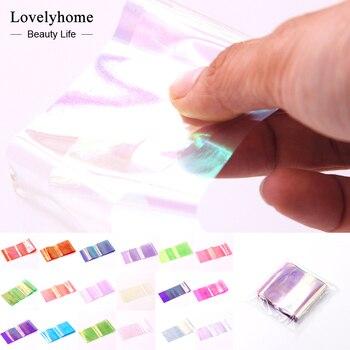 Wholsale! 18 Pacotes de Nail Art Adesivo Folha Pedaço De Vidro Quebrado Espelho Efeito 3D Doces Dicas Stencil Decalque Decoração Manicure Ferramentas