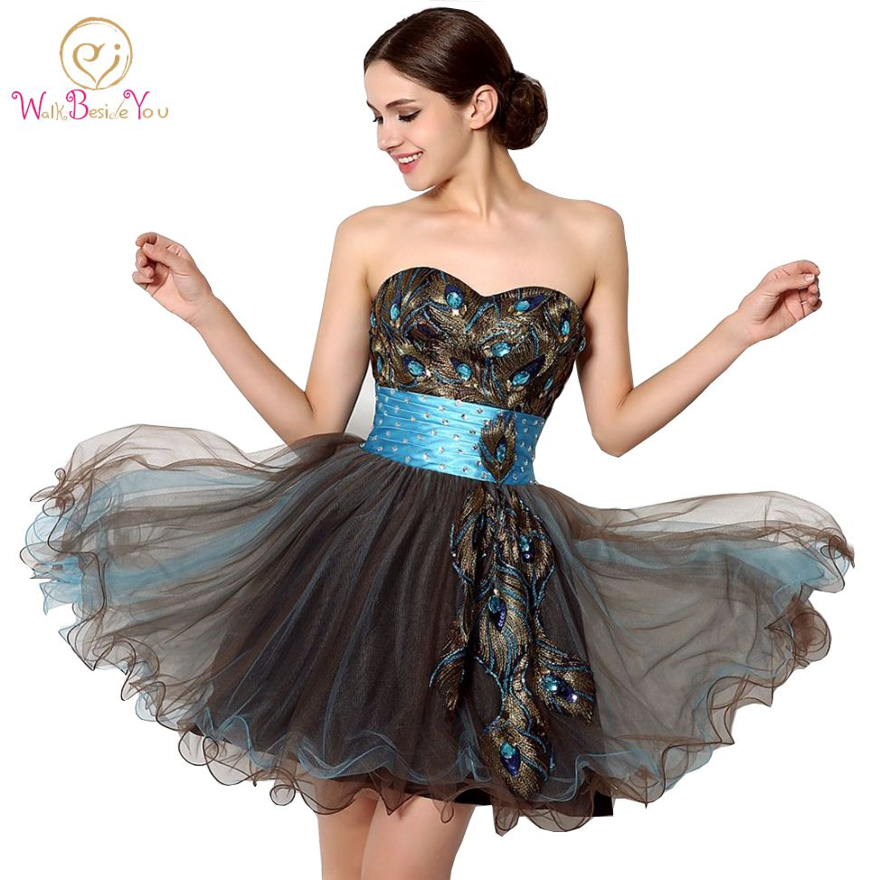100 Real Images Cheap Party Dresses Short Chocolate Ball Gown Cocktail Dresses Crystal Short Peacock Cocktail