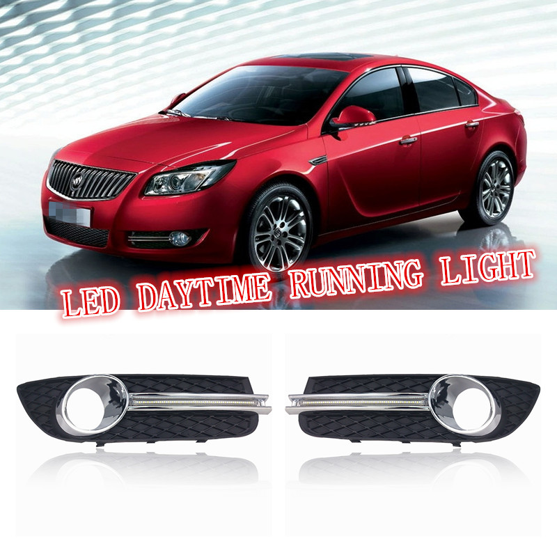 2PCs/set LED DRL Car daylight Daytime Running Lights For Buick Regal OPEL INSIGNIA 2009 2010 2011 2012 2013 Turn Signal lamps car white yellow daytime running light drive lamp for buick regal gs 2010 2011 2012 2013 2014 2015 led drl daylight fog lamp