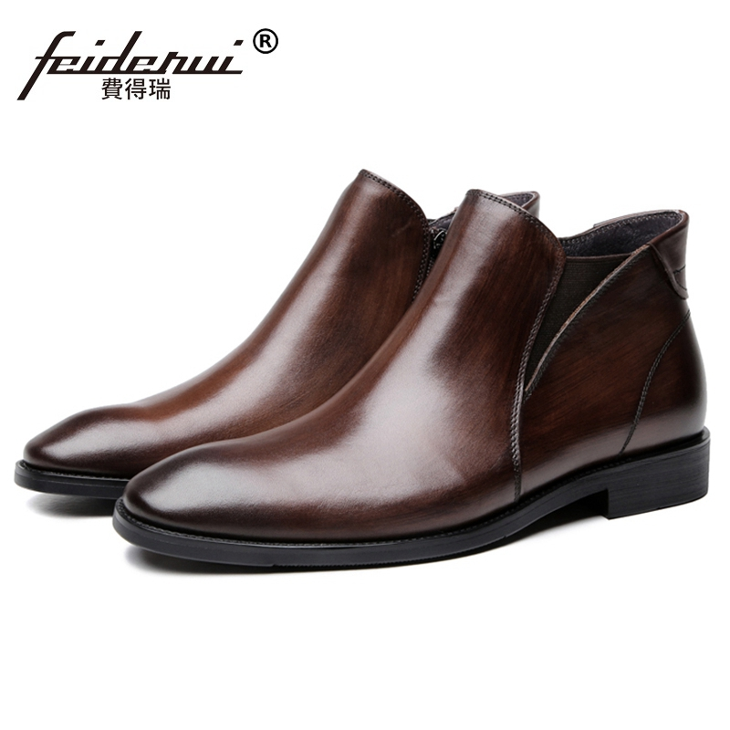High Quality Man High-Top Chelsea Goodyear Shoes Genuine Leather Round Toe Handmade Mens  Riding Ankle Boots JS236High Quality Man High-Top Chelsea Goodyear Shoes Genuine Leather Round Toe Handmade Mens  Riding Ankle Boots JS236