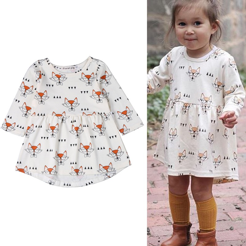 2018 Hot Fashion Girls Dress Fox Print Long Sleeve A Line Children Party Dresses Casual Baby Girls Outfits Clothing