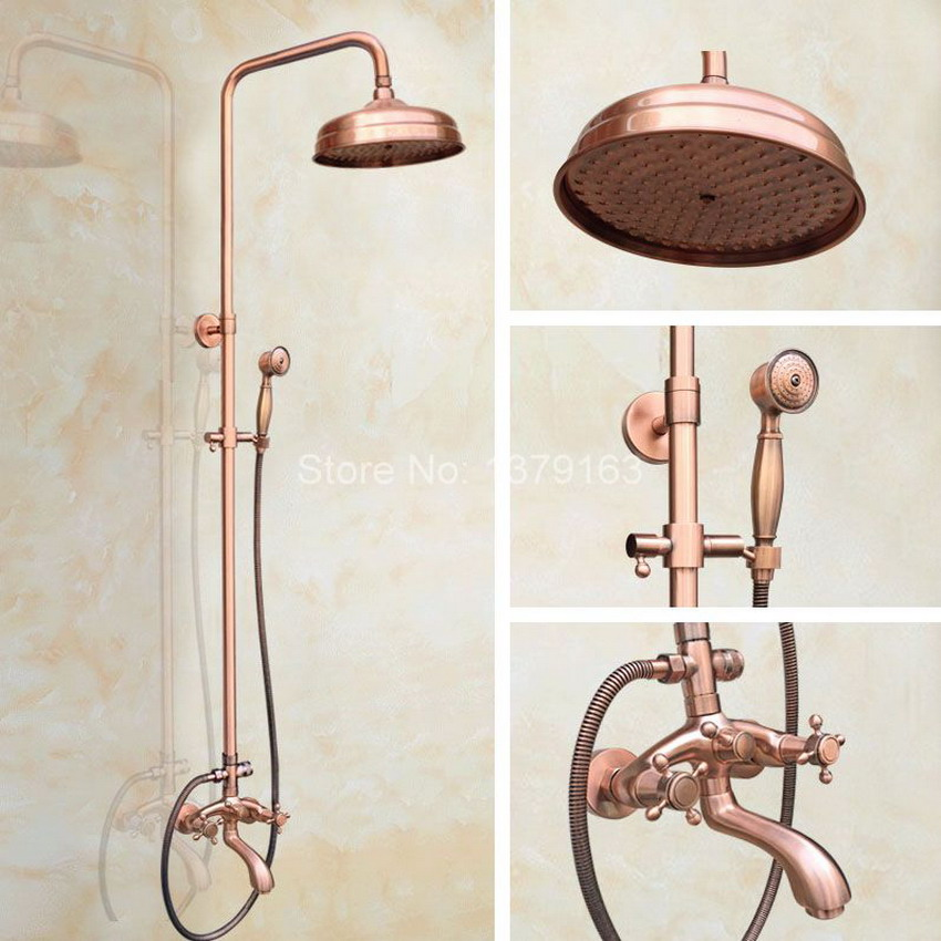 8 Inch Bathroom Rain Shower Faucet Set Dual Cross Handles Antique Red Copper Bath Tub Mixer Tap