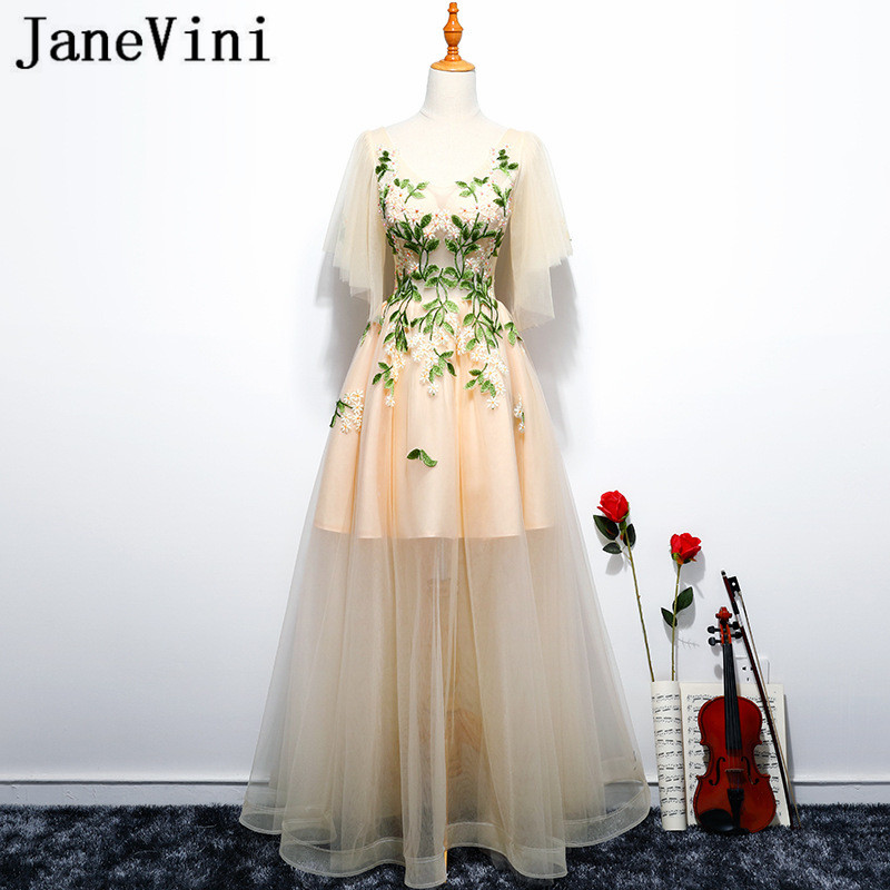 JaneVini Sexy Champagne Embroidery Women   Bridesmaid     Dresses   Long Puffy Tulle Prom Party   Dress   2018 Vestito Elegante Donna Lungo