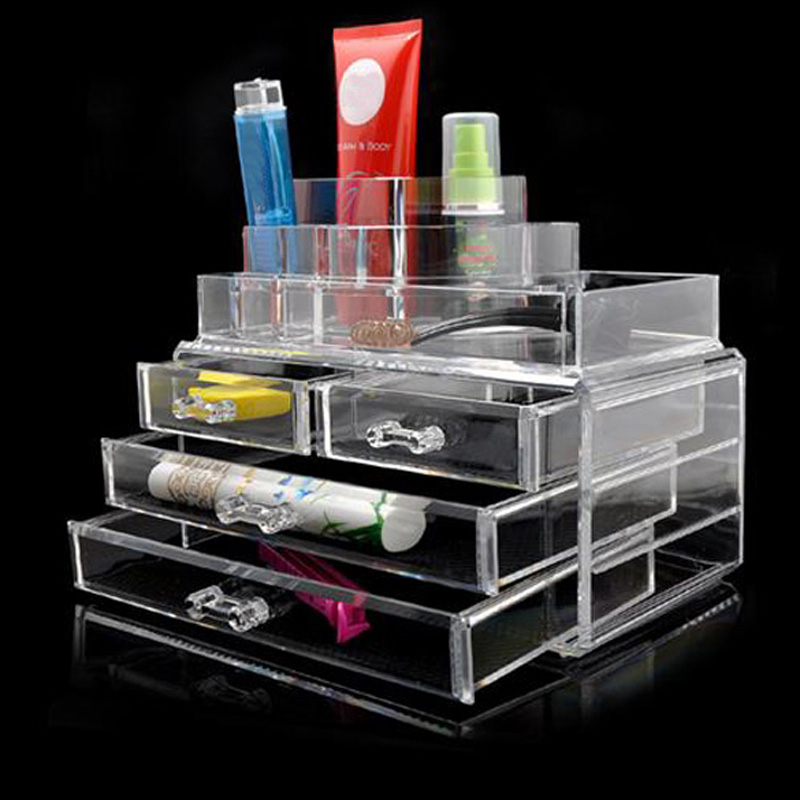 Large Box Acrylic Makeup Cosmetic Case Stand Insert Holder Rack Organizer Glossy Makeup Organizer 3 Layer Drawers Transparent large box acrylic makeup cosmetic case stand insert holder rack organizer glossy makeup organizer 3 layer drawers transparent