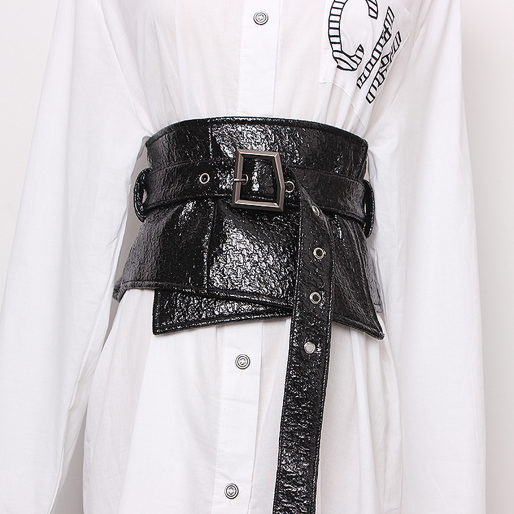 Women's Runway Fashion Black Patent Leather Cummerbunds Female Vintage Dress Corsets Waistband Belts Decoration Wide Belt R1263