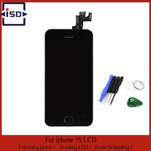 Black Color For Iphone 5S LCD display+Touch Screen Digitizer+Home Button+Frame+ front camera full Assembly+tools,free shipping