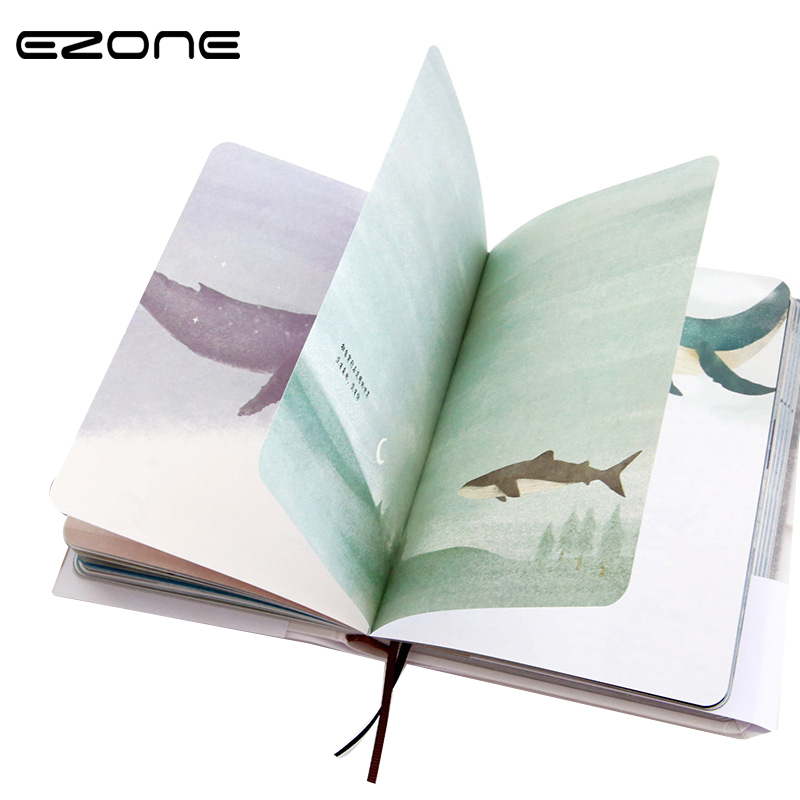 EZONE 1PC Beautiful Color Pages Hardcover Notebook Lovely Cute Diary Book School Office Stationery Reward Students With Gifts beautiful darkness