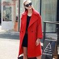 Quintina 2017 Новая Мода Длинные Стиль Свободный Шерстяное Пальто Casaco Feminino Женщины Turn Down Воротник Женщин Пальто Зимнее Пальто