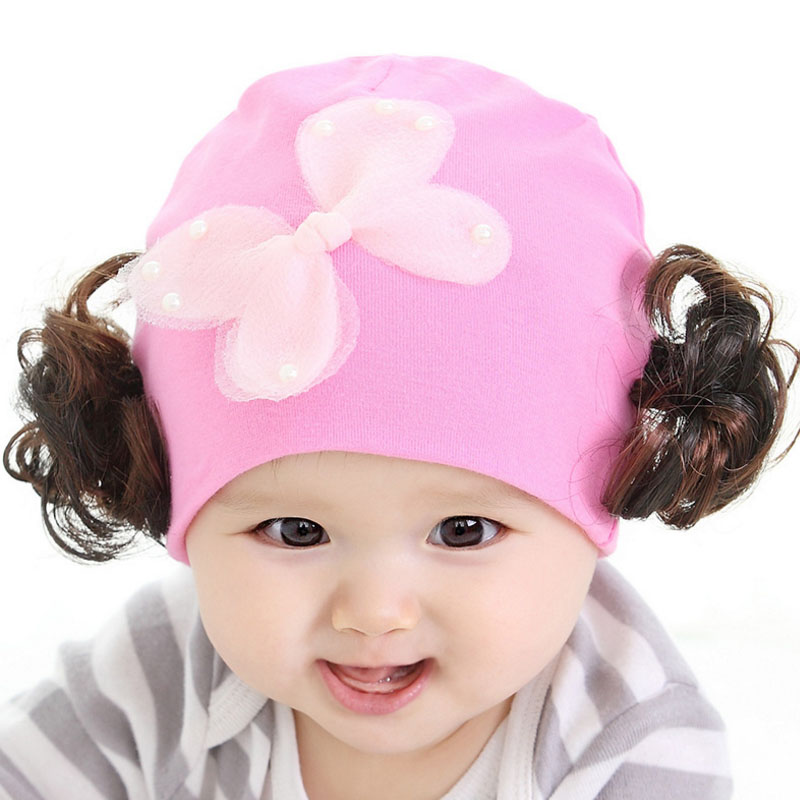 New Mesh Bow With Wig Baby Cap Handsome Appearance