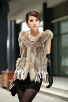 VR019 Free shipping women rabbit vest fur with raccoon fur with hooded collar trimming waistcoat