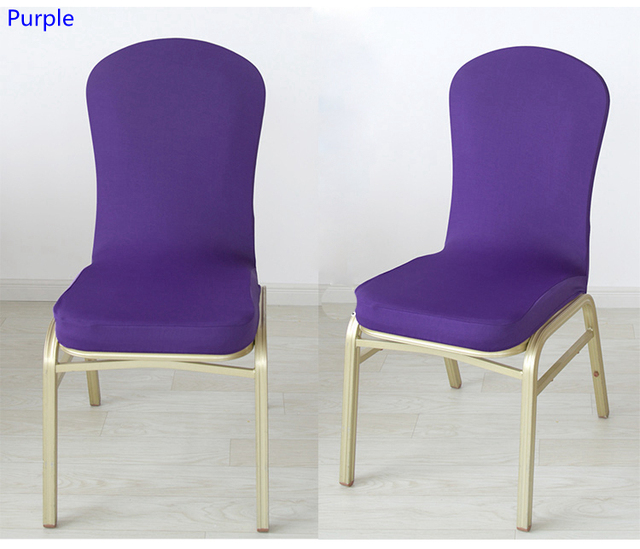 Charmant Purple Colour Spandex Chair Covers Half Style For Wedding Hotel Party  Dining Banquet Decoration Lycra Stretch