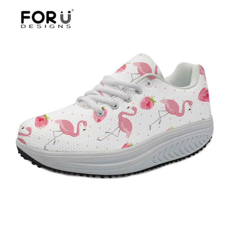 FORUDESIGNS Flamingo pattern platform sneakers women Comfortable Casual Swing Shoes Mesh Slimming Flats Sneakers Ladies Shoes forudesigns 2018 hot sale horse design flat platform shoes women autumn casual female slimming swing shoes shaps ups woman