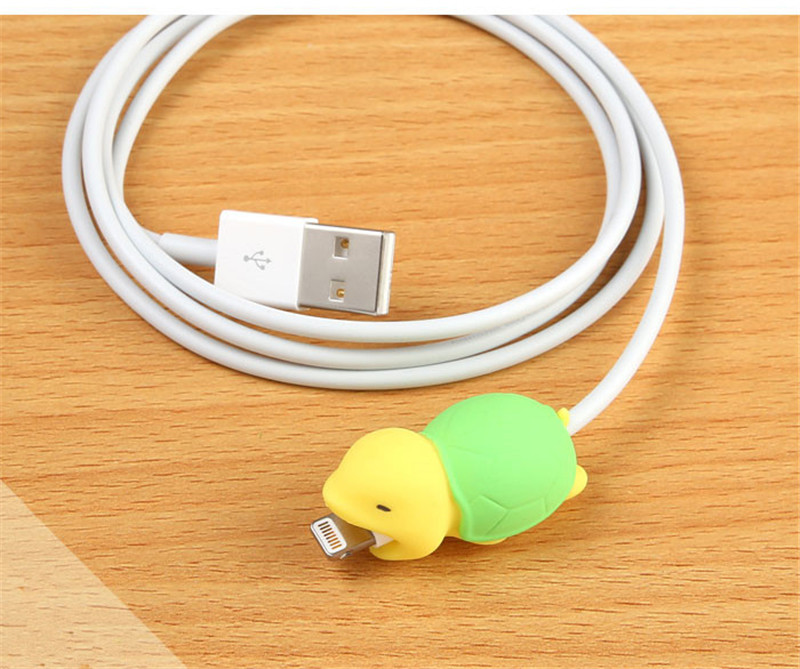 FFFAS Animal Cable Bite Protector Winder Cute Cartoon Cover Protect Case Wire Organizer Holder For IPhone 7 8 X Plus Earphone