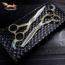 """KUMIHO 6 """"profesjonalne nożyczki do włosów z uchwytem phoenix japonia Hitachi 440C nożyczki fryzjerskie ze stali nierdzewnej z fantazyjnym uchwytem"""