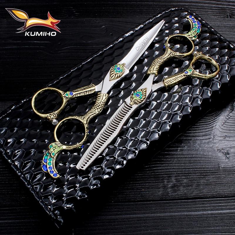 """KUMIHO 6 """"tijeras de pelo profesionales con mango de fénix Japón Hitachi 440C tijeras de peluquería inoxidables con mango de lujo"""