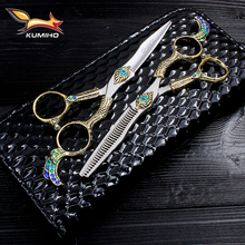 KUMIHO 6 professional hair scissors with phoenix handle Japan Hitachi 440C stainless hairdressing fancy