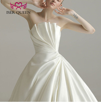 Special Design Europe Satin Wedding Dress 2020 Court Train Pleat Robe De Mariee Fashion Wedding Gowns China WX0156