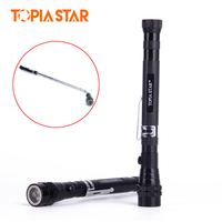 TOPIA SATR Magnetic Pickup Tool Retractable 3 LED Flashlight Telescopic Extending Torch With Magnetized Head Finder