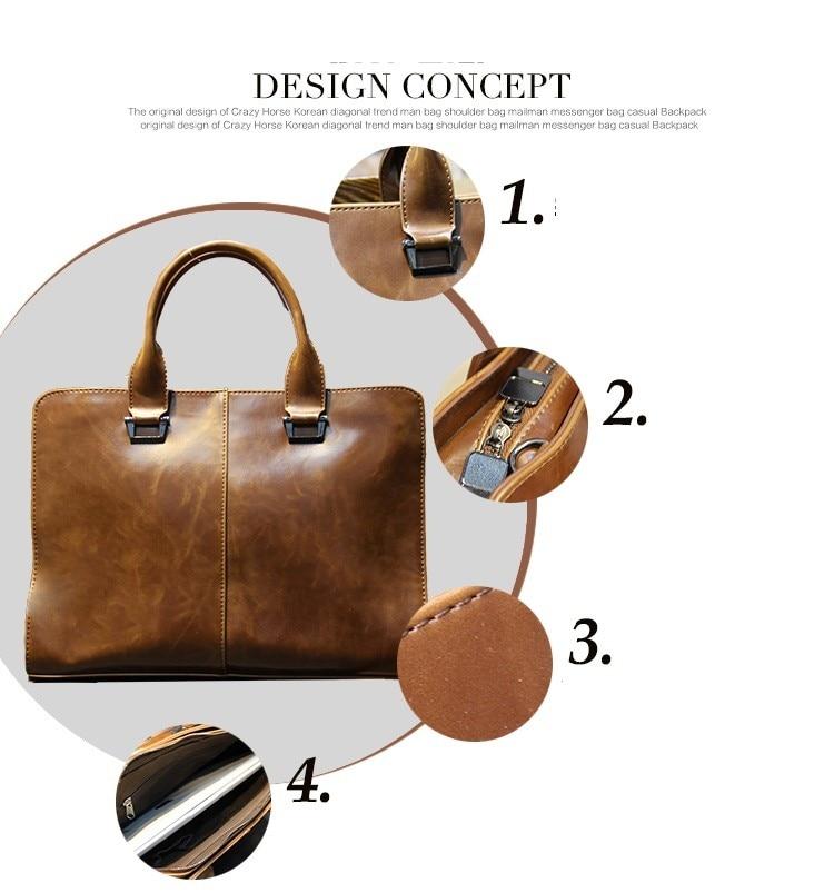 Men briefcase new soft leather handbags men's casual bag shoulder messenger bag Crossbody Bags Man Laptop Computer Case 13