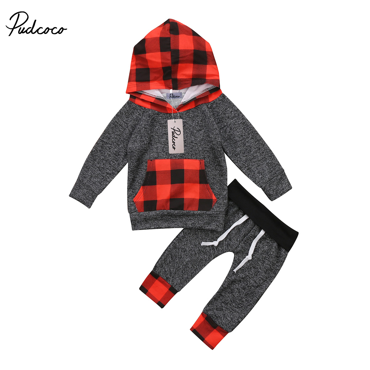 Xmas Newborn Baby Toddler Boys Girls Winter Clothes Long Sleeve Hooded Red Black Plaid Tops Pants Outfits Set 0-5Y