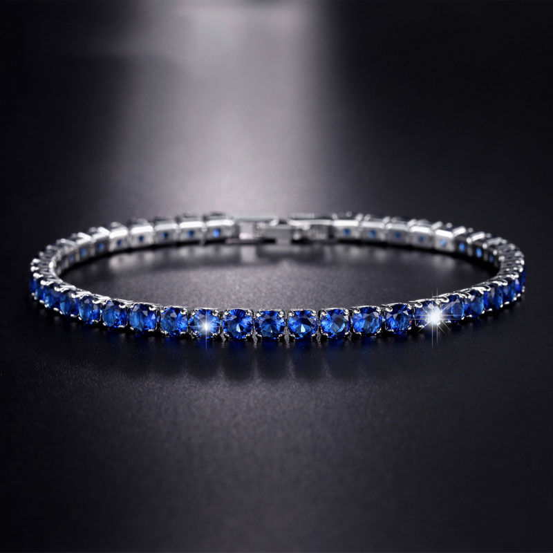 Fine Jewelry for Women Zircon Bracelet in Real Rhodium Plated 19 cm Blue /Green CZ Bracelet for Girls