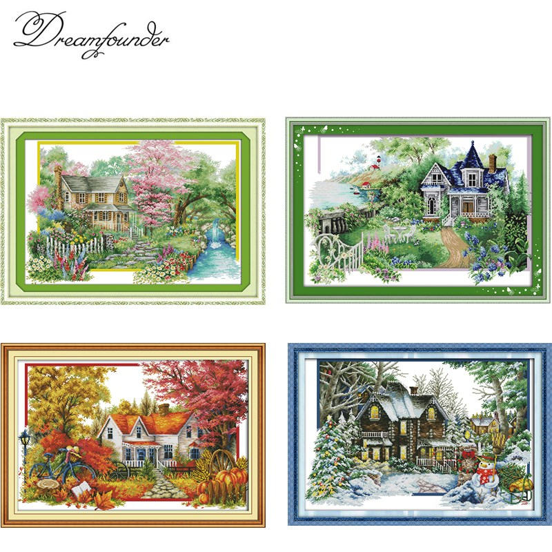 4 SEASON House Cross Stitch Kit  Aida 14ct 11ct Count Print Canvas Hand Sew Cross-stitching Embroidery DIY Handmade Needlework