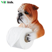 3D Animal Bathroom Toilet Paper Holder Resin Toilet Tray Free Punch Cartoon Dog Tissue Box Hanging Roll Paper Towel Holder Rack
