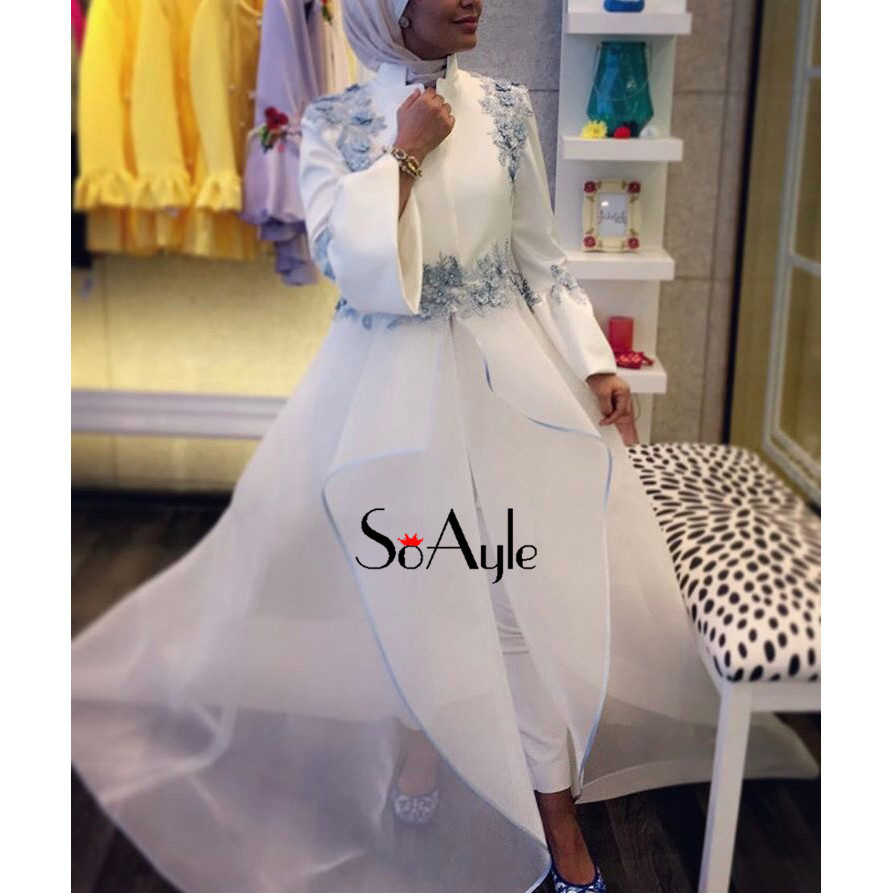 SoAyle Long Sleeves Evening Dresses Satin Lace Applique Haute ... 501fb88fbad1