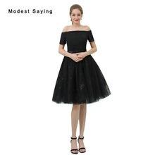 edbb04391 Elegante negro una línea hombro Encaje cóctel 2017 Niñas formal rodilla  Homecoming prom vestidos de coctel B048