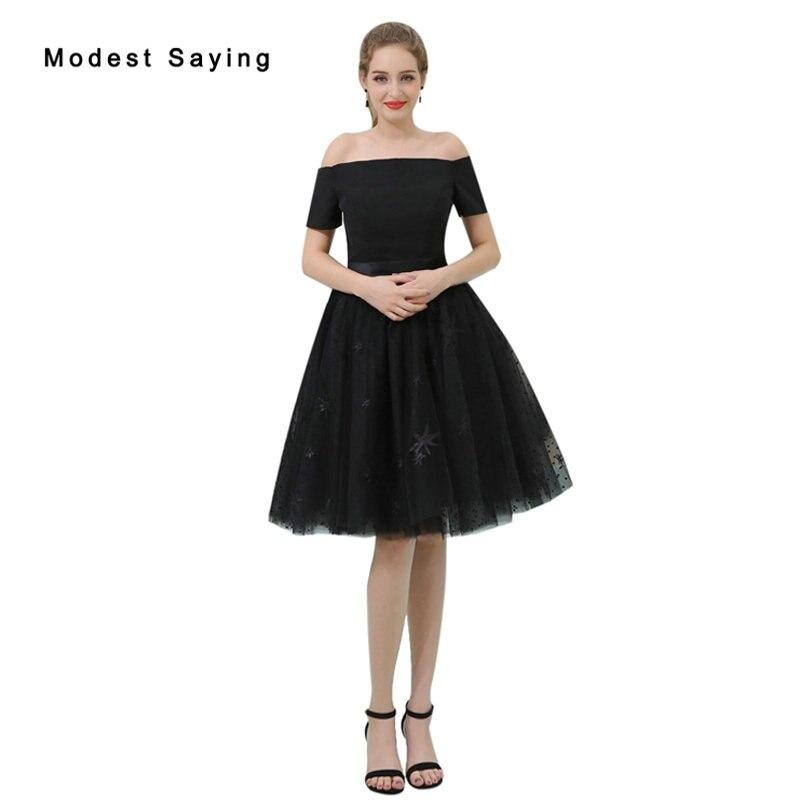 Elegant Black A-Line Off Shoulder Lace   Cocktail     Dress   2017 Girls Formal Knee Length Homecoming Prom Gown vestidos de coctel B048