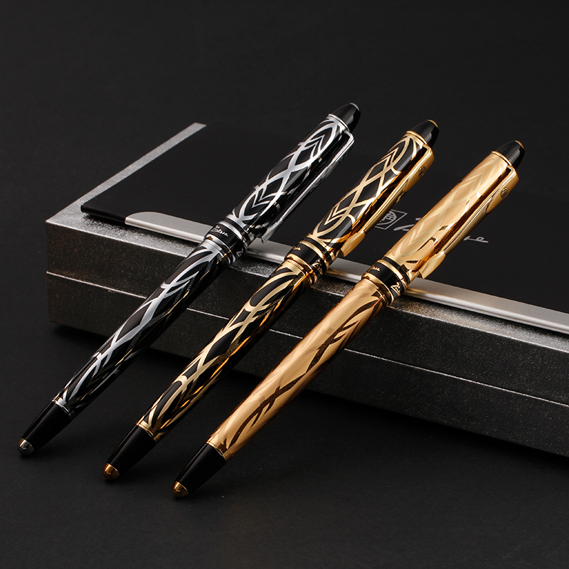 Pimio 901 Paris Exotica Luxury Gold Iridium Fountain Pen with 0.5mm Nib Metal Ink Pens Writing Office Gift Free Shipping jinhao business gifts writing ink pen black with old grey snake wind medium 18kgp nib 3d metal fountain pen