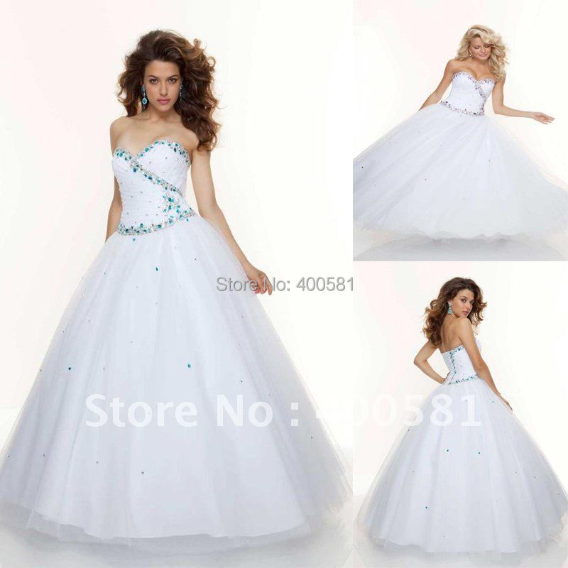 Great Princess Full Ball Gown Floor Length White Turquoise Amethyst Sweetheart  Ruched Sequins Tulle Corset Prom Dresses In Prom Dresses From Weddings U0026  Events On ...