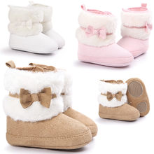 Baby Boots Baby Bowknot Keep Warm Soft Sole Snow Boots Soft Crib Shoes Toddler Boots Non-Slip Kids Footwear First Walkers(China)