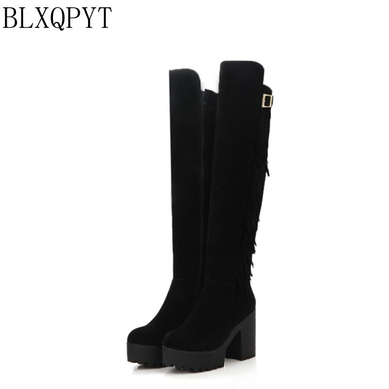 Big Size 34-44 Over the Knee Boots for Women Sexy High Heels Long boots Winter Shoes Round Toe Platform Knight Boots M985 enmayer sexy red shoes woman high heels bowties charms size 34 47 zippers round toe winter over the knee boots platform shoes page 4