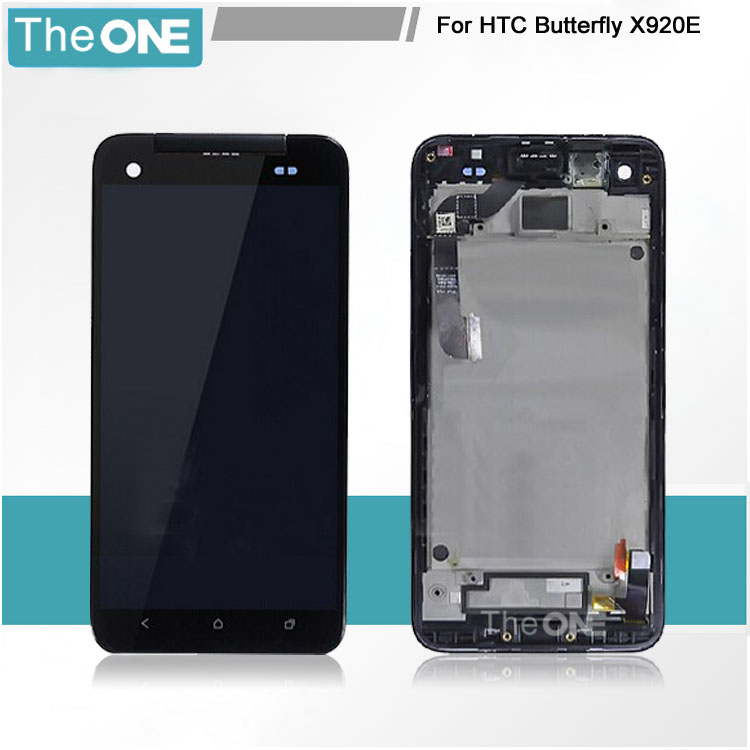 5 pcs For HTC Droid DNA X920E Butterfly LCD Display + Touch screen with Digitizer Assembly with frame Black Free shipping